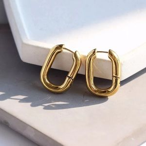 Gold Plated Oval Earrings
